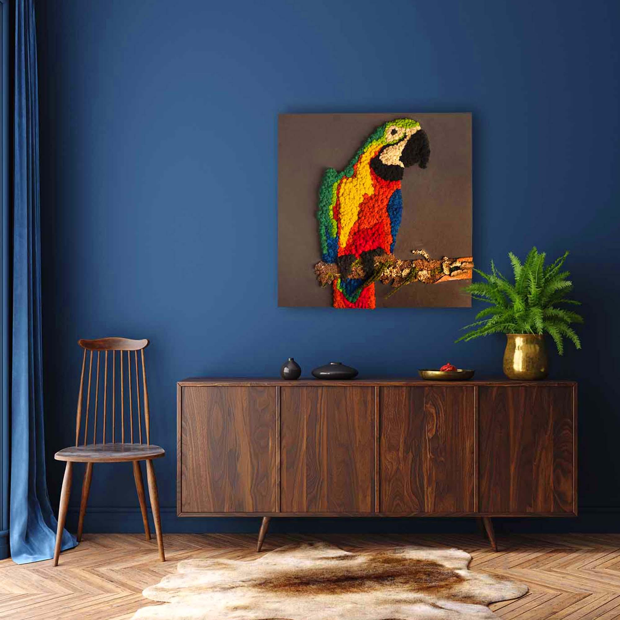 sytlischer Islandmoos Papagei auf blauem Hintergrund