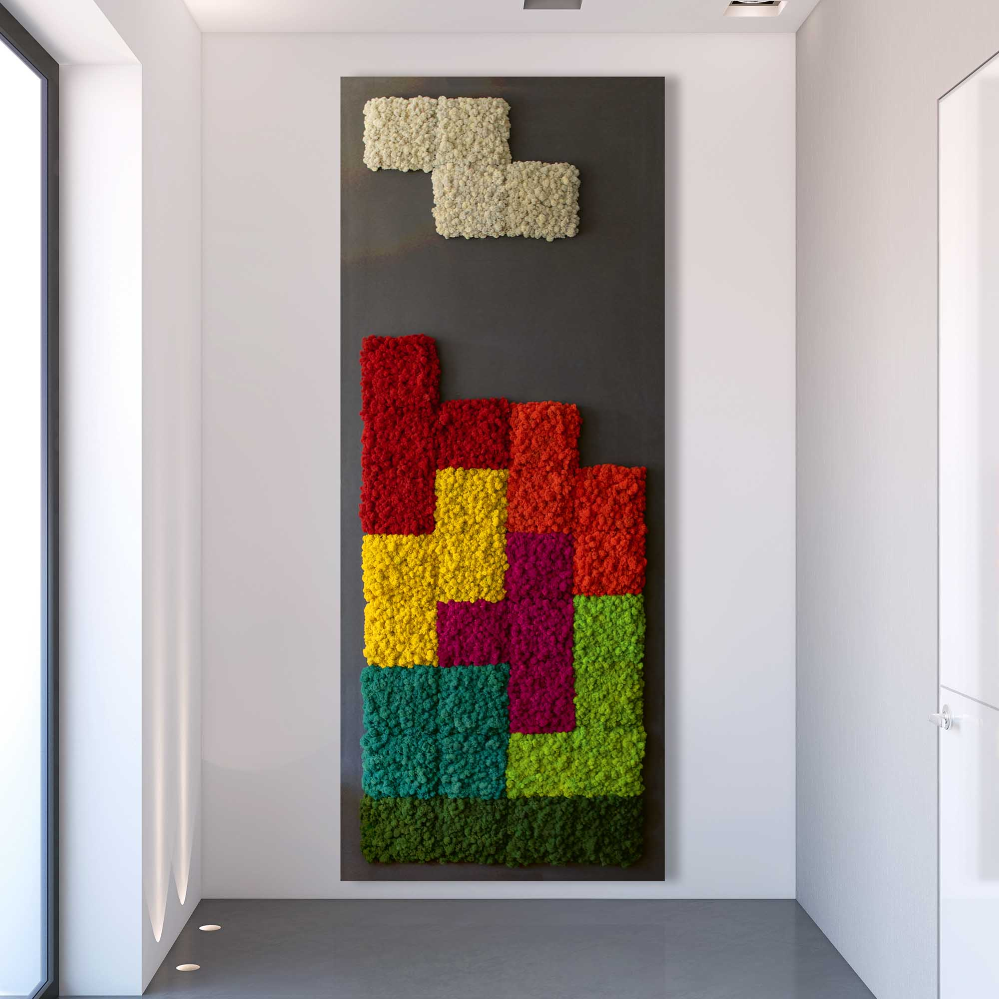 Islandmoos Mooswand in Tetris Optik welche sehr modern aussieht