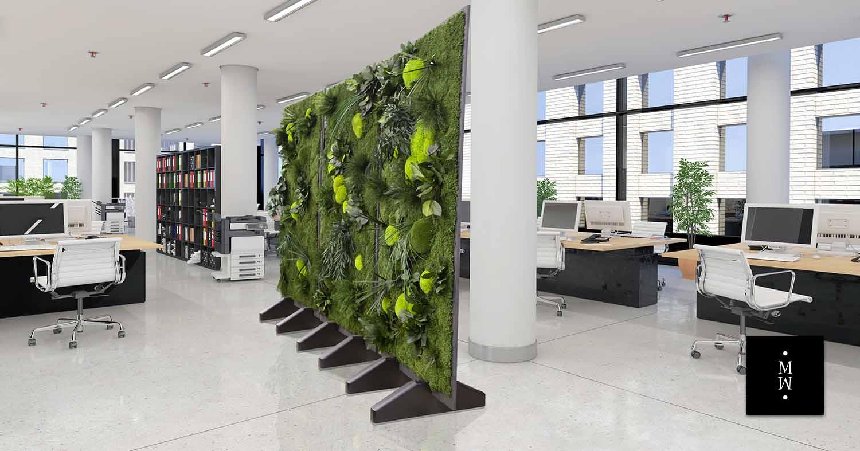 Raumteiler aus Dschungelmoos in Großraumbüro