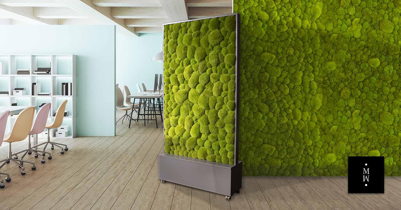 Mobiler Raumteiler aus Ballenmoos Großraumbüro